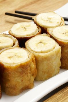 Banana  Brown Sugar Spring Rolls Dessert Recipe Made with Wonton Wrappers