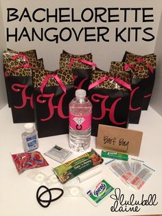 "It would be neat to have a ""swag bag"" set up for all the girls for the night of the party and then these for the girls to have the next morning! Bachelorette Party DIY duct tape party favor bags and Hangover Kits ~Lulubell Elaine~"