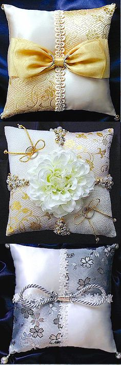ateliersarah's ring pillow/Japanese-style Ring Bearer Pillows, Ring Pillows, Sofa Pillows, Throw Pillows, Wedding Ring Cushion, Wedding Pillows, Plastic Canvas Coasters, Flower Girl Basket, Decorative Cushions