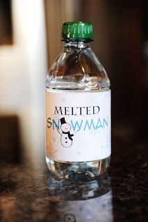 Free Melted Snowman Printable Label.   A great DIY idea for water bottles at a Christmas party or event