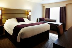 PREMIER INN - this is non-serviced accommodation although there is usually a restaurant close by for food/drinks.