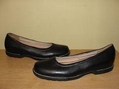 Lands End Womens Size 9.5M Black Leather Slip On Ballet Comfort Flats Shoes #LandsEnd #BalletFlats #WeartoWork