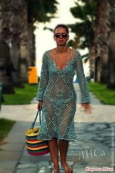 pretty cover up Diy Crafts Dress, Diy Dress, Crochet Beach Dress, Crochet Bikini, Pretty White Dresses, Bohemian Mode, Estilo Boho, Crochet Fashion, Beautiful Crochet