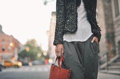 tweed jackets x harem trousers