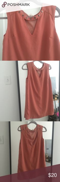 Peachy Keen Shift Dress Chic shift dress with studs along the collar.  Priced lower for the slight pulling in the dress (see picture for reference).  There is sheer fabric where the back scoops, similar to the fabric that is in the triangle patter on the front. Dresses Mini