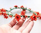 Floral crown -- Floral Hair Wreath, Orange Lilies,  free shipping