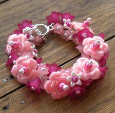 Pink Cluster Bracelet Floral Beaded Bracelet by beadingshaz, £15.00
