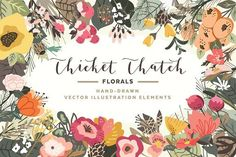 Woodland Florals Thicket Thatch Pack by Denise Anne on @Graphicsauthor