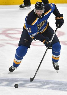 St Louis Blues defenseman Robert Bortuzzo with the puck during a NHL hockey game between the Edmonton Oilers and the St Louis Blues on November 21 at...
