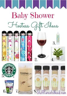 Creative, thoughtful, and affordable baby shower hostess gift ideas.
