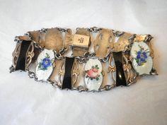 Guilloche Sterling Enamel Flower Bracelet Ivar T. Holt par Zoesgems