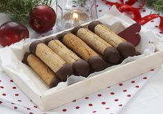 """Every time I see """"kransekakestenger"""" on a cookie plate, my mouth instantly starts to water. These soft, chewy and flavor packed concoctions contain only three ingredients but taste so … Norwegian Food, Norwegian Recipes, Scandinavian Food, Food Articles, Chocolate Lovers, Finger Foods, Christmas Cookies, Dessert Recipes, Desserts"""