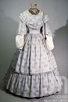 Printed Cotton Day Dress, Bohemian, c. 1855  From the North Bohemian Museum in Liberec, Czech Republic