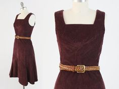 Vintage 70s Corduroy Dress  Sleeveless Burgundy by BobcatVintage