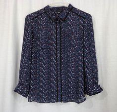 Womens I HEART RONSON Sheer Multi-Color Floral Black Fringe Trim Blouse, Size XL #IRonson #Blouse #Casual