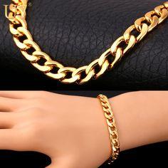 U7 Bracelet Men Jewelry Wholesale Trendy Gold Plated 22 CM 8 MM Thick Cuban Link Chain Bracelets H385
