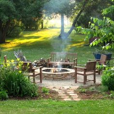 landscaping around firepit