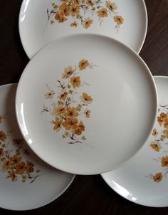 6 Floral Wood Rose Dinner Plates Taylor Smith and Taylor. $30.00, via Etsy.