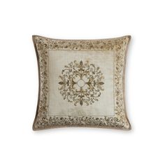 The Felicia Cushion features a classic and very usable design, with intricate foliage in finely worked gold thread embroidery.