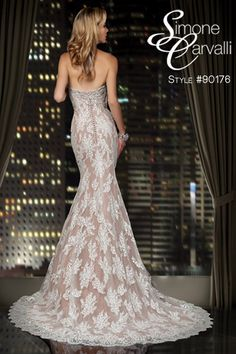 Also available in all ivory, Simone Carvalli 2014 wedding dress, style #90176 #bridalgown #lace #bling