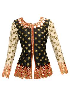 Black and beige heart motifs jacket by Arpita Mehta.