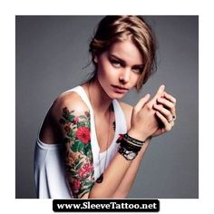 Beautiful Half Sleeve Tattoos Women 01.jpg (350×351)