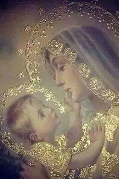 Divine Mother, Blessed Mother Mary, Blessed Virgin Mary, Religious Pictures, Religious Icons, Religious Art, Image Jesus, Images Of Mary, Queen Of Heaven