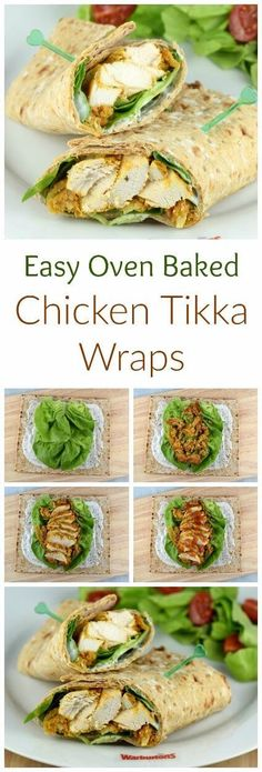 Easy Oven Baked Chicken Tikka Wraps Delicious chicken tikka wraps recipe with quick and easy homemade oven baked chicken tikka – fab lunch box idea for adults or kids Lunch Box Bento, Lunch Meals, Easy Oven Baked Chicken, Delicious Sandwiches, Vegetarian Sandwiches, Vegetarian Food, Panini Sandwiches, Going Vegetarian, Vegetarian Breakfast