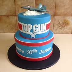 Movies and film can inspire many things in people — awe, creativity, and of course, hunger. That's why so many iconic movies are often the inspiration for some pretty epic cake creations. Baby Boy First Birthday, Birthday Cake Girls, Birthday Cakes, Birthday Stuff, Fondant Cakes, Cupcake Cakes, Paper Airplane Party, Top Gun Party, Cake By The Pound