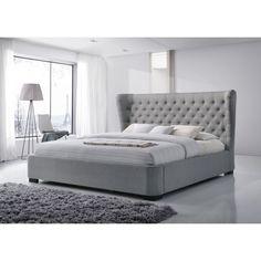 Manchester King-Size Tufted Wing Upholstered Grey Platform Bed ~ $1,399.99 at overstock.com