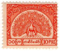 I B Burma Telegraphs New Currency Bay Of Bengal, Elephant Head, Bagan, Mandalay, Burmese, King George, Postage Stamps, Green And Grey, Laos
