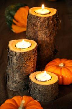 bricolage automne - bougeoirs en bûches et déco en citrouilles