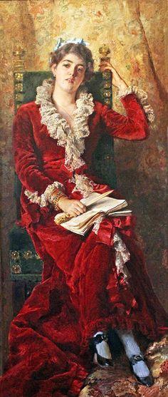 Constantin Makovsky; excellent red velvet coat for a fabric minx!