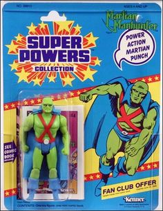 Kenner Super Powers Collection Action Figures; The Martian Manhunter (J'onn J'onzz)...My cousin gave me this toy back in the early 80s and it became a favorite. And it introduced me to a character who also become a favorite years later.