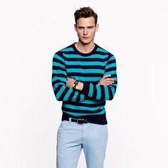 J. Crew Cotton Crewneck Stripe Sweater (Havana Blue)