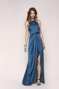 new halter blue evening dress ,long prom dress by prom dresses, $162.75 USD