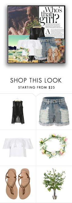 """Baby if you wanna leave come to California be a freak like me too."" by prettylittletimelord on Polyvore featuring LE3NO, Topshop, Havaianas and Diane James"