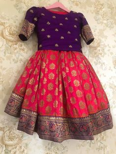 Stunning purple brocade lehenga and yellow color peplum top. Get your little one dolled up. Time for some bright colors ! Girls Frock Design, Baby Dress Design, Kids Lehanga Design, Kids Dress Wear, Kids Gown, Kids Wear, Baby Frocks Designs, Kids Frocks Design, Frocks For Girls