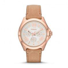 Fossil Armbanduhr – Cecile Chrono Sand – in beige aus Leder – Armbanduhr für Damen