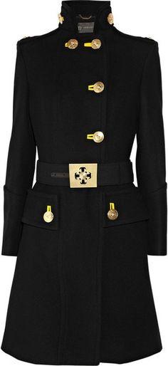 Versace Military Wool Coat in Black...