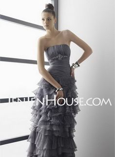 Bridesmaid Dresses - $135.99 - A-Line/Princess Strapless Floor-Length Organza  Satin Bridesmaid Dresses with Ruffle  Beading (007000824) http://jenjenhouse.com/A-line-Princess-Strapless-Floor-length-Organza--Satin-Bridesmaid-Dresses-With-Ruffle--Beading-007000824-g824