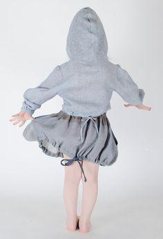 Girls Wool Linen Grey Skirt Bunny Ears with dark grey by FancyFlax, $49.00