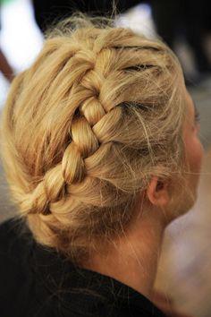 Heidi style plait for bridesmaid or flower girl