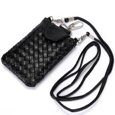 Luxury Designer Woven Leather Crossbody Case Cover Pouch Purse Hand Bag for Apple iPhone 3G 3GS 4 4S / Samsung – Galaxy S II / Nokia Black