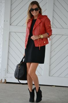 jacket, dress, booties love them all with the gold accents! Need a red leather jacket now!