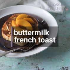 A step-by-step video on how to make buttermilk French toast. A twist on traditional French toast with a subtle tang. (And also a great way to use up any buttermilk you have hanging around in the fridge.) Food Recipes For Dinner, Food Recipes Deserts Easy Cake Recipes, Brunch Recipes, My Recipes, Breakfast Recipes, Recipies, Make French Toast, Nutella, Rustic Italian Bread