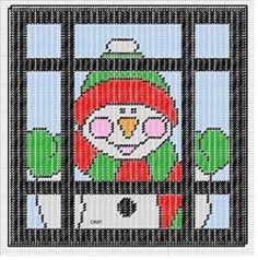Homemade Plastic Canvas Pattern-Window Peekin' Snowman