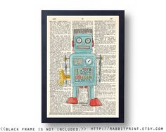 Blue Robot Wall Art Print Dictionary Page Print by RabbitPrint