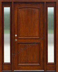 Exterior 2 Panel Doors with Sidelights Reeded Glass