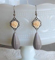 Creamy Peach Rose Earrings by AdornmentsbyWendi on Etsy, $14.00